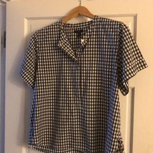 JCrew Black and white checked shirt